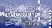 Background concept wordcloud illustration of manufacturing international poster