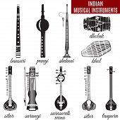 Vector set of indian musical instruments, flat style. Sarangi, sitar, saraswati veena, shehnai, bansuri, pungi, dholak and khol icons isolated on white background. poster