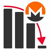 Monero Falling Acceleration Chart flat vector illustration. An isolated illustration on a white background. poster