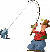 Fisherman on a white background vector illustration poster