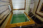Small swimming pool in the bathroom, sauna or sanatorium. poster