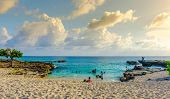 Grand Cayman, Cayman Islands, July 2017, Smith's Barcadere beach at sunset poster