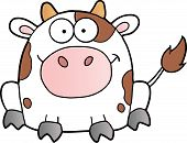 Cute White Cow Cartoon Mascot Character.  illustration poster