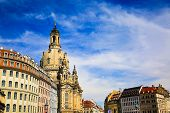 The Neumarkt square and Frauenkirche (Church of Our Lady) is Lutheran Church of Saxony at summer, old town in Dresden, Germany. Architecture baroque buildings, external structure. Tourist destination. poster