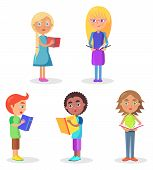Five schoolchildren stands and holds color schoolbooks flat and shadow theme vector illustration on white background closeup poster