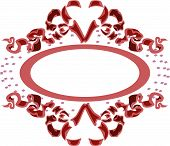 Vector Ribbon heart decoration element red frame poster