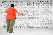 Overwhelmed obese woman looking at list of fad diets and surgical weight loss methods written on wall. poster