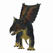 Chasmosaurus Dinosaur on White 3D illustration - Chasmosaurus was a herbivorous ceratopsian dinosaur that lived in Alberta, Canada during the Cretaceous period. poster