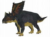 Chasmosaurus Dinosaur Side Profile 3D illustration - Chasmosaurus was a herbivorous ceratopsian dinosaur that lived in Alberta, Canada during the Cretaceous period. poster