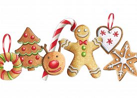 Sketch markers Christmas cookies on a white background. Sketch done in alcohol markers. You can use for greeting cards posters and design projects.