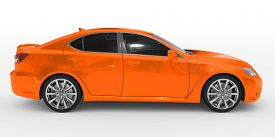 car isolated on white - orange paint, tinted glass - right side view - 3d rendering