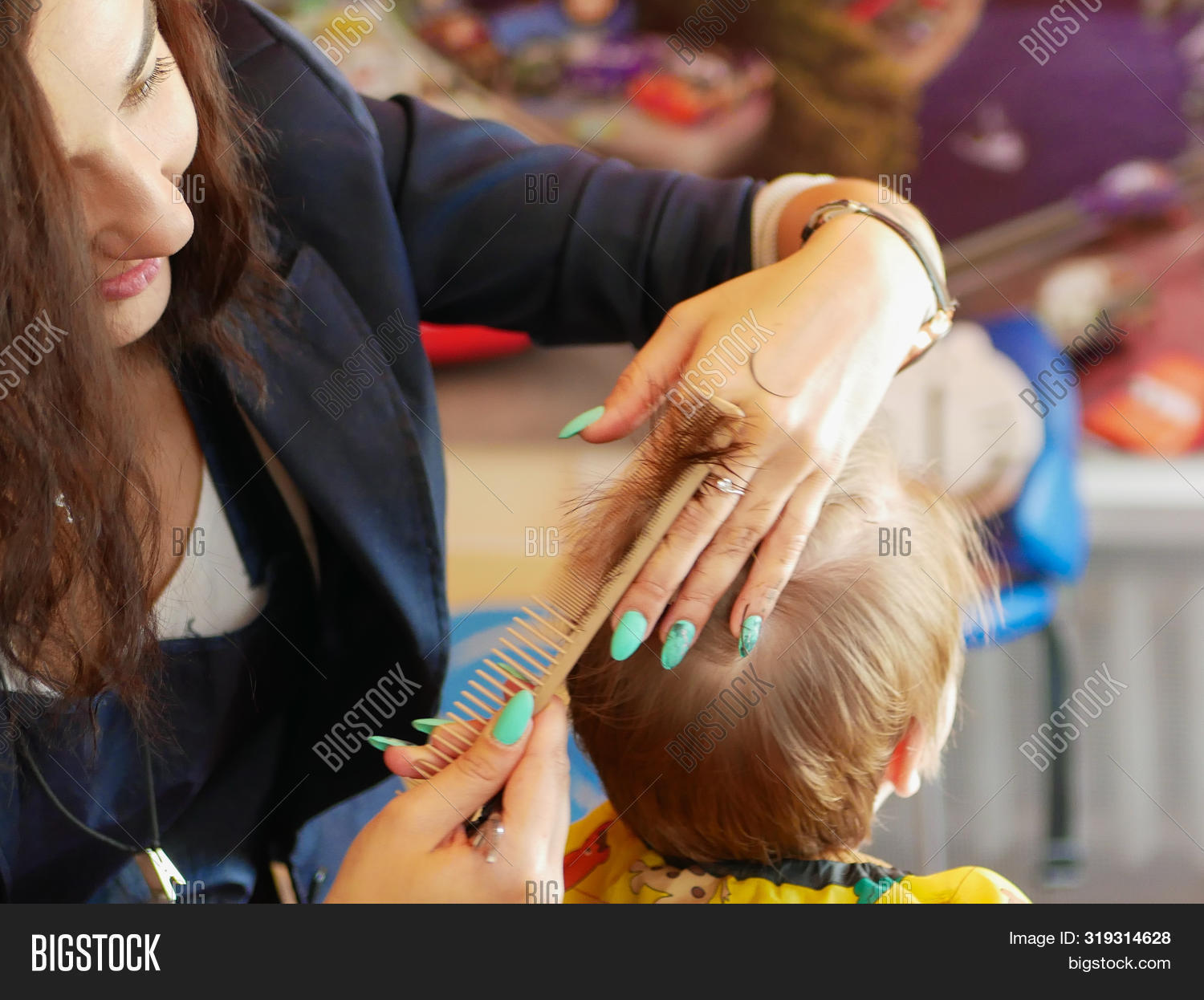 First Baby Haircut Image Photo Free Trial Bigstock