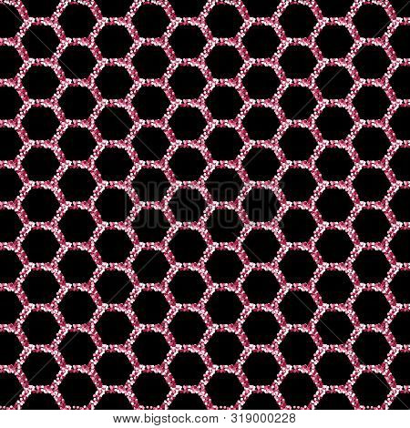 Flickering Pink Hexagons On A Black Background. Eps 10