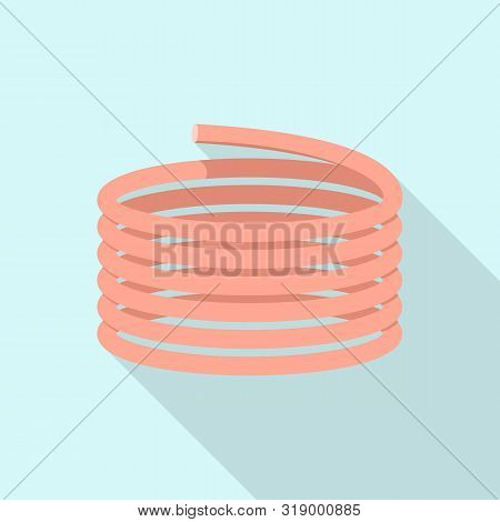 Red Coil Icon. Flat Illustration Of Red Coil Vector Icon For Web Design