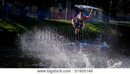 MELBOURNE, AUSTRALIA - MARCH 11: Aaron Gordon in the wakeboard event at the Moomba Masters on March 11, 2012 in Melbourne, Australia