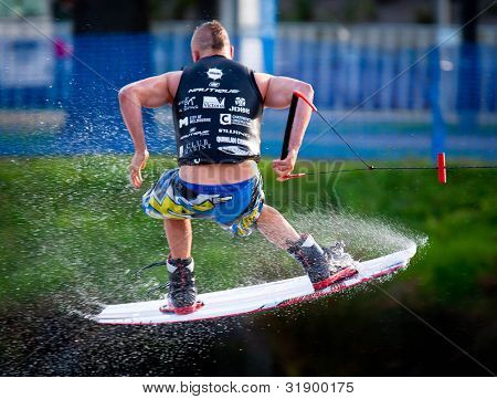 MELBOURNE, AUSTRALIA - MARCH 12: Unidentified competitor in the wakeboarding event at the Moomba Masters on March 12, 2012 in Melbourne, Australia