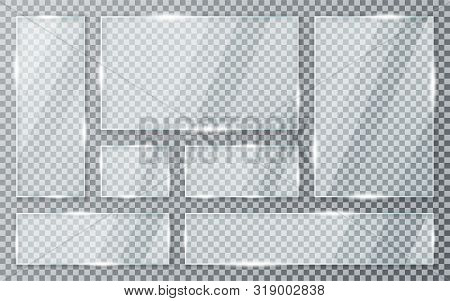 Glass Plates Set On Transparent Background. Acrylic And Glass Texture With Glares And Light. Realist