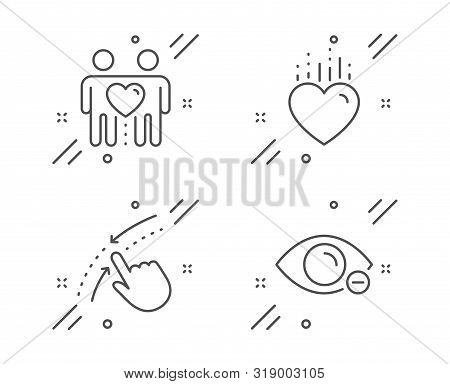 Friends Couple, Heart And Swipe Up Line Icons Set. Myopia Sign. Friendship, Love, Touch Down. Eye Vi