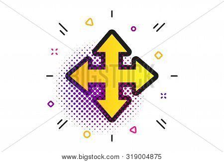 Fullscreen Sign Icon. Halftone Dots Pattern. Arrows Symbol. Icon For App. Classic Flat Fullscreen Ic