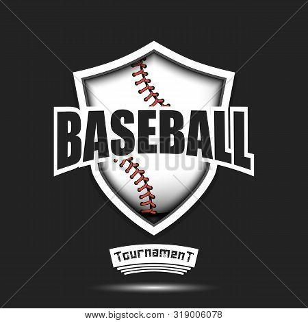 Baseball Logo Design Template. Baseball Emblem Pattern. Baseball Ball And Shield With Vintage Letter