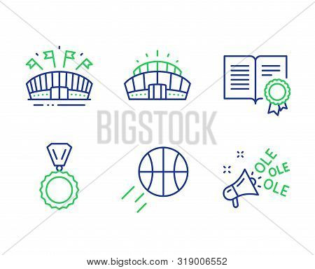 Medal, Diploma And Sports Arena Line Icons Set. Basketball, Arena Stadium And Ole Chant Signs. Winne