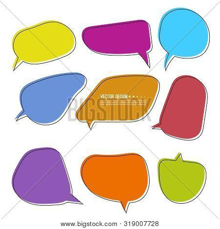 Set Of Bright Varied Speech Bubbles. Empty Cartoon Vector Frames, Text Box For Conversation.