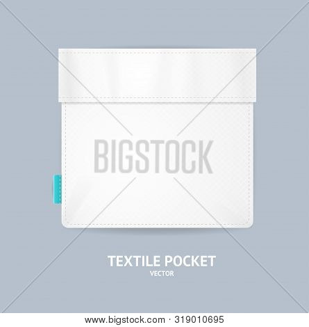 Realistic Detailed 3d White Blank Textile Cotton Pocket With Seam Empty Template Mockup On A Grey. V