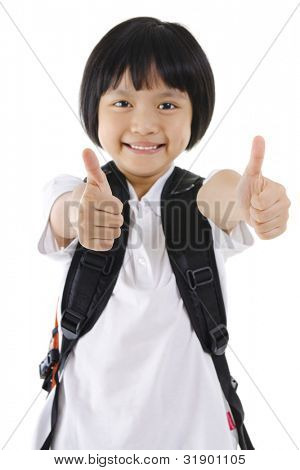 Thumbs up primary school girl with backpack on white background
