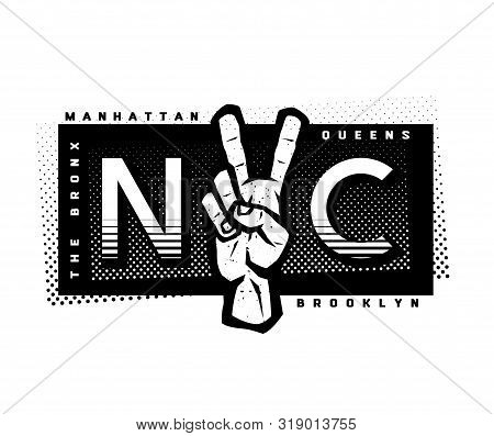 T-shirt Printing Design. Nyc Emblem. New York, Manhattan, Brooklyn, Queens, The Bronx. Vector Illust