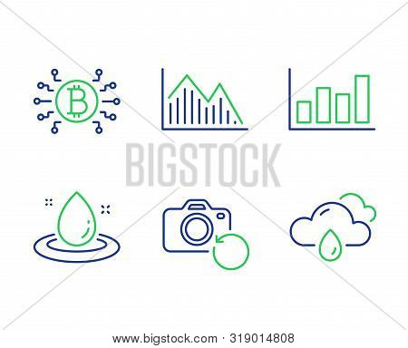 Bitcoin System, Recovery Photo And Fuel Energy Line Icons Set. Report Diagram, Investment Graph And