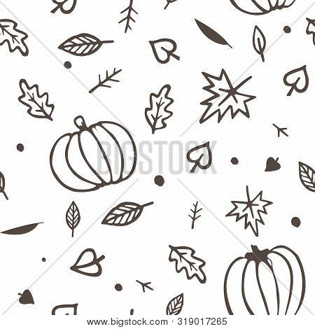 Autumn Seamless Pattern Yellow And Green Fall Leaves And Pumpkins. Vector Ornament Isolated On White