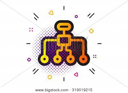 Business Architecture Sign. Halftone Circles Pattern. Restructuring Icon. Delegate Symbol. Classic F