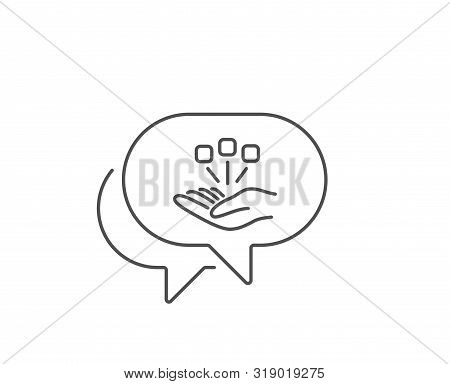Consolidation Line Icon. Chat Bubble Design. Business Strategy Sign. Outline Concept. Thin Line Cons