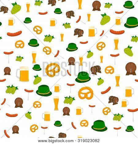 Illustration On Theme Big Colored Pattern Oktoberfest, German Holiday It Fest Pretzel. Pattern Consi