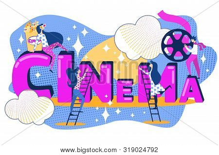 Cinema Business Concept. Film Production Team. Cartoon People Movie Shoot Make. Woman Watch In Glass