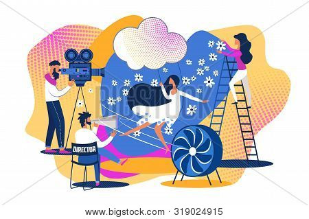 Movie Set Scene Shooting. Action Picture Making. Cartoon People Film Production Team. Woman Actress