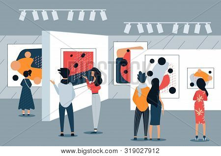 Woman And Man In Art Gallery View Paintings. Vector Illustration. Free Time. Development And Hobby.