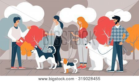 Instructor And Dog Breeder Team With Dogs. Vector Illustration. Free Time. Development And Hobby. Gr