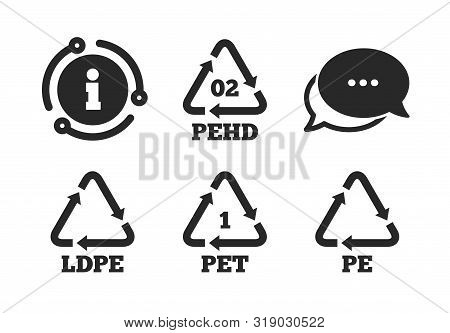 High-density Polyethylene Terephthalate Sign. Chat, Info Sign. Pet, Ld-pe And Hd-pe Icons. Recycling