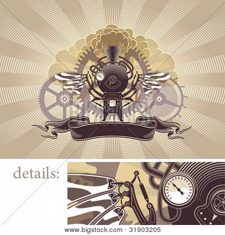 Incredible steam engine with wings. Steampunk styled vector background.