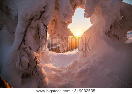 Sunrise.fantastic Sunrise, Morning Winter Landscape. Fantastic Overcast Sky. Beautiful Winter Landsc
