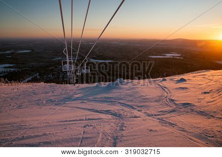 Sunrise.fantastic Sunrise, Morning Winter Landscape. Fantastic Overcast Sky. Beautiful Winter Landsc
