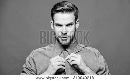 Hipster Denim Shirt Looks Attractive Blue Background. Man Well Groomed Beard. Well Groomed Macho. Ba