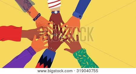 Diverse Young People Hands On Isolated Background. Teenager Hand Group High Five Celebration Or Frie