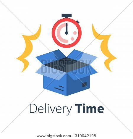 Delivery Time, Fast Shipment, Stopwatch And Open Box, Postal Parcel Waiting Period, Timely Distribut