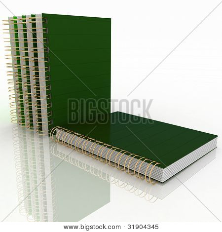 A blank spiral notebook on a white background