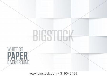 Three Dimensional Paper Background. White Folded Wallpaper Design.