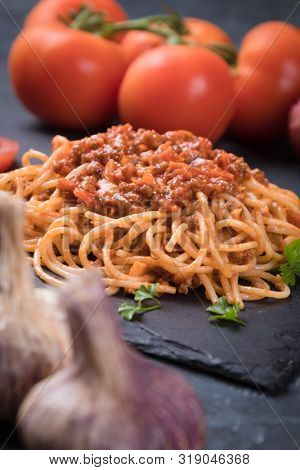 Spaghetti bolognese pasta with beef and tomato ragu sauce