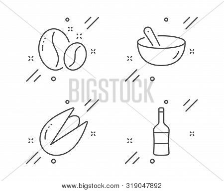 Cooking Mix, Coffee Beans And Pistachio Nut Line Icons Set. Wine Sign. Bowl, Roasted Seeds, Vegetari
