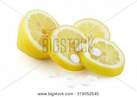 Slice Cut Lemon And Acid Citric Pills, Vitamin C, Antioxidans, Homeopathic Medicine Concept